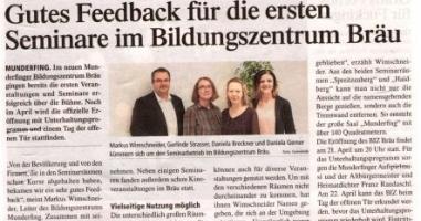 Gutes Feedback für die ersten Seminare im Bildungszentrum Bräu