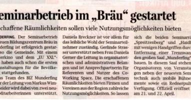 """Seminarbetrieb im """"Bräu"""" gestartet"""