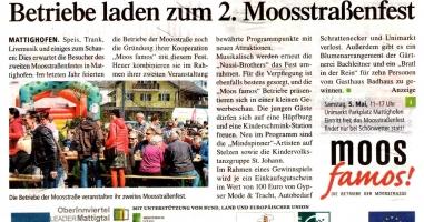 Betriebe laden zum 2. Moosstraßenfest