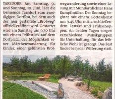 """Dorffest Tarsdorf mit """"Brotweg""""- Eröffnung"""