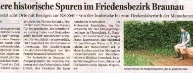 Besondere historische Spuren im Friedensbezirk Braunau