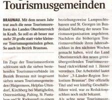 Insgesamt acht neue Tourismusgemeinden