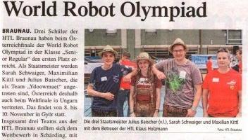 Staatsmeistertitel bei der World Robot Olympiad
