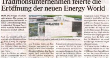 Traditionsunternehmen feiert die Eröffnung der neuen Energy World