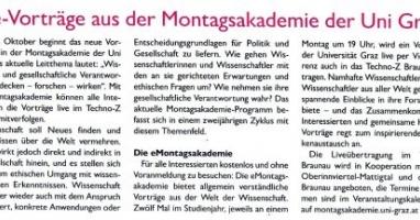 Live-Vorträge aus der Montagsakademie der Uni Graz
