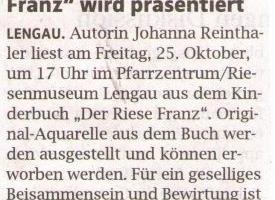 """Kinderbuch """"Der Riese Franz"""" wird präsentiert"""