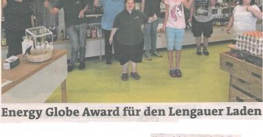 Gemeinde Lengau erhält Energy Globe OÖ Award