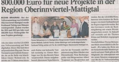800.000 Euro für neue Projekte in der Region Oberinnviertel-Mattigtal