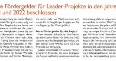 Neue Fördergelder für LEADER-Projekte in den Jahren 2021 und 2022 beschlossen