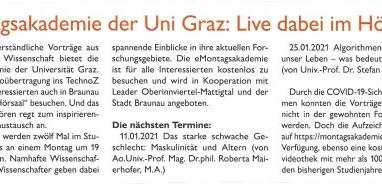 Montagsakademie der Uni Graz: Live dabei im Hörsaal