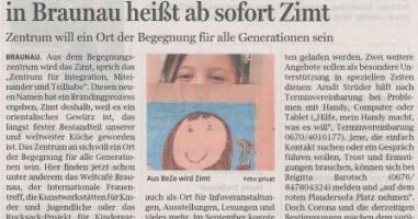 Das neue Begegnungszentrum in Braunau heißt ab sofort Zimt