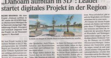 """""""Dahoam aufblian in 3D"""": LEADER startet digitales Projekt in der Region"""