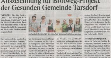 Auszeichnung für Brotweg-Projekt der Gesunden Gemeinde Tarsdorf