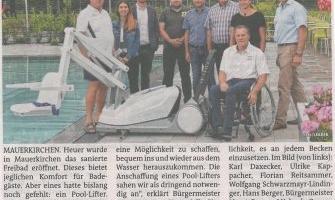 Dank LEADER: Ein Pool-Lifter fürs Mauerkirchner Freibad.
