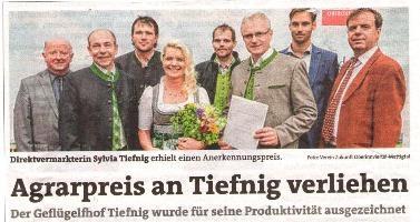 Geflügelhof Tiefnig erhielt Agrarpreis!