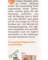 Ab 03. April 2017 steht ein Lastenrad in Braunau zur Verfügung!