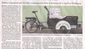 100 Kilo Ladekapazität hat das kostenfreie Elektro-Lastenrad in Braunau