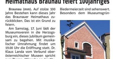 Heimathaus Braunau feiert 100-jähriges Jubliäum