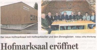 Eröffnung Hofmarksaal Moosbach