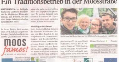 Traditionsbetrieb Gärtnerei Bachleitner in der Moosstraße