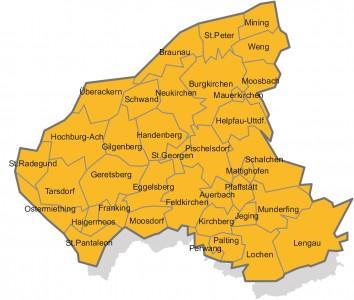 Karte LEADER Oberinnviertel-Mattigtal