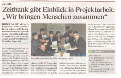 Tips Zeitbank gibt Einblick in Projektarbeit 16.03.2016