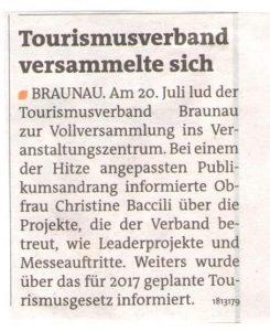 Braunauer Bezirksrundschau Tourismusverband Leader 25.08.2016